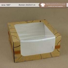 Średnie pudełko na ciasto z pomarańczowym paskiem - 22x22x11cm - Zdjęcie 3