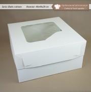 Duże białe pudełko na tort z oknem - 40x40x20 cm - Zdjęcie 1