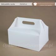 Biale pudelko na ciasto z raczka - 19x14x9cm - Zdjecie 1